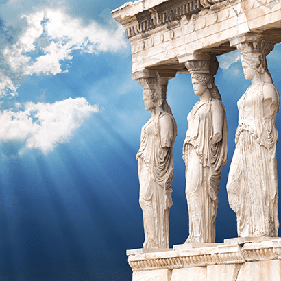 Greek Goddess with Blue Sky Background
