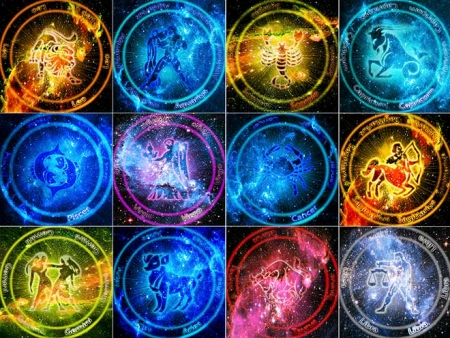 coloured astrology symbols